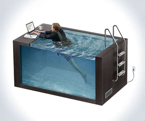 Work Office Desk Pools - The 'Swim Desk' Relieves Pressure and Promotes Exercise During Work