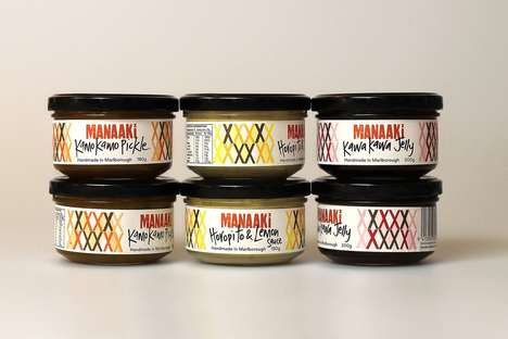 Traditional Ingredient Preserve Packaging - The Manaaki Preserves and Condiments are Bold and Tasty