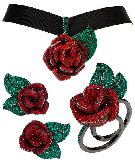 Opulent Rose Accessories - Disney and Swarovski Teamed Up to Make Elegant Rose Jewelry Pieces