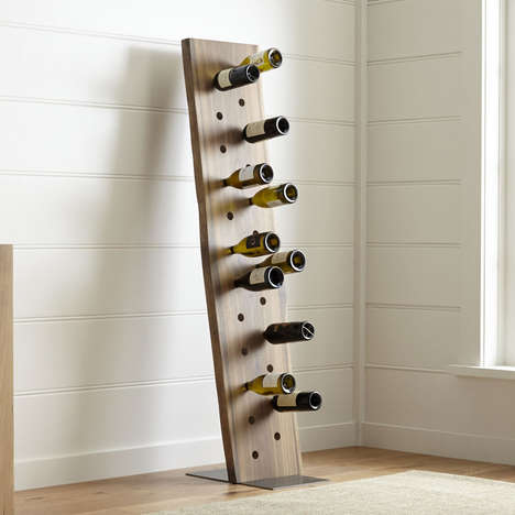 Abstract Plank Wine Racks - The Dakota Leaning 24 Bottle Wine Rack Stores Bottles Obscurely