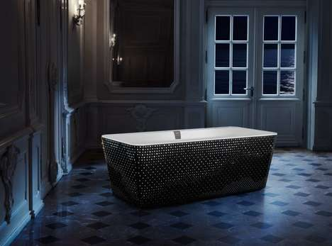 Crystal-Encrusted Bathtubs - The Villeroy & Boch 'Squaro' Bathroom Bathtub Has Swarovski Accents