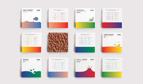 Gradient Chocolate Boxes - The Packaging for LAVA Chocolates Uses Color and Shape to Convey Flavor