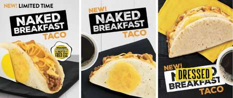 Fried Egg Shell Tacos - The Taco Bell Naked Breakfast Taco is an All-in-One Meal Option