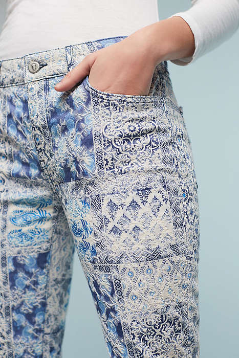 Ornately Printed Denim - These Boldly Printed Jeans from Pilcro Mimic the Look of Jacquard