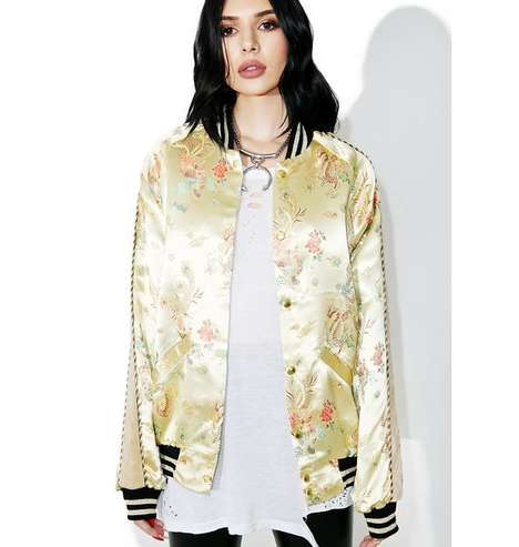 Asian Brocade Bombers - Jaded London's Imitation Silk Bomber References an Opulent Historical Style