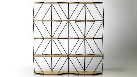 Geometrically Shapeshifting Shelving - Olafur Eliasson's Green Light Series has a Triangular Pattern