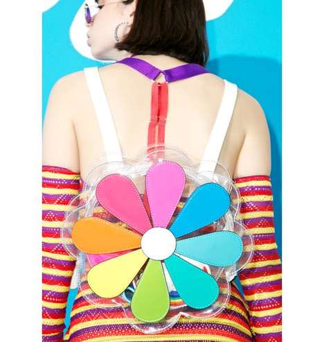 Nostalgic Festival Accessories - This Flower Backpack Boasts Multicolored Petal Accents