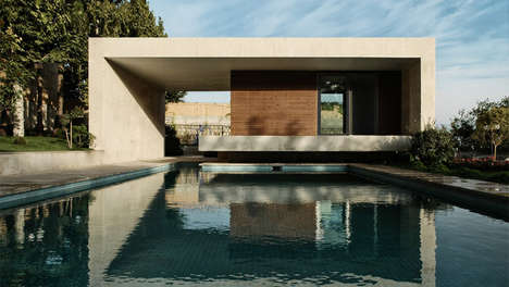 Concrete Pool Pavilions - KRDS Designed the Sohanak Swimming Pool for a Private Tehran Garden