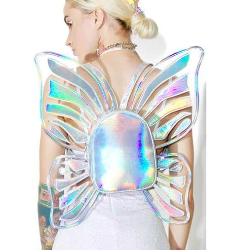 Iridescent Butterfly Backpacks - Dolls Kill's Mystic Mini Bag is Accented With Sculptural Wings