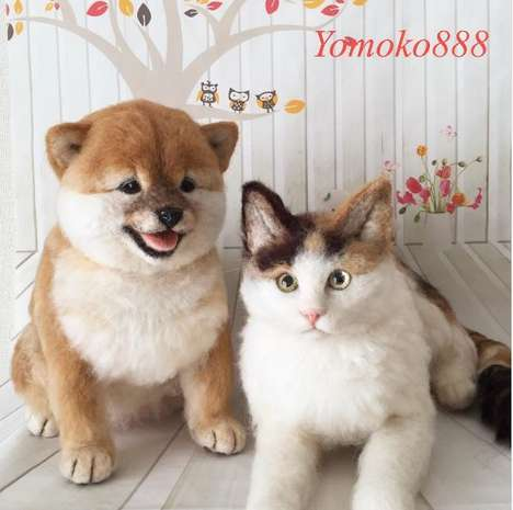 Lifelike Felt Pets - Japanese Artist Yomoko888 Creates Incredibly Realistic Dogs and Cats