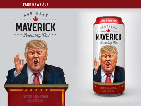 Charitable Political Ales - Northern Maverick Brewing's 'Fake News Ale' Uses a Donald Trump Cartoon