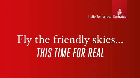 Adversarial Airline Ads - The New Emirates 'Friendly Skies' Spot Highlights United's Recent Troubles