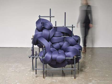 Abstract Interwoven Cushion Chairs - The 'Lawless' Metal Frame Chair Deconstructs Materials