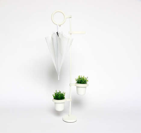Plant-Watering Umbrella Stands - The LÖV Stand Contains Umbrella Spillage and Waters Plants