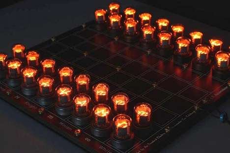 Glowing Electric Tube Games - The Nixie Chess Set Game Uses Nixie Tubes for a Glowing Experience