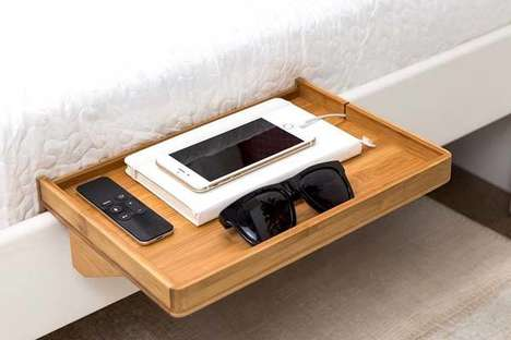 Hanging Bamboo Bedside Tables - The 'BedShelfie' Bed Table Keeps Essentials Stored Nearby