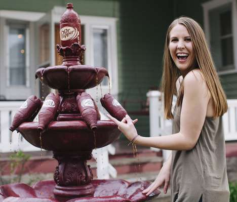 Life-Sized Soda Spouts - The Dr. Pepper Fountain Was Created by the Company for a Loyal Fan