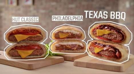 Hybrid Pizza Burgers - The Pizza Hut 'Hut Burgers' Feature Patties Wrapped in Dough