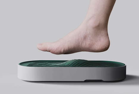 Ergonomic Stepping Pad Scales - The 'Arch' Bathroom Scale is Textured to Ensure Comfort