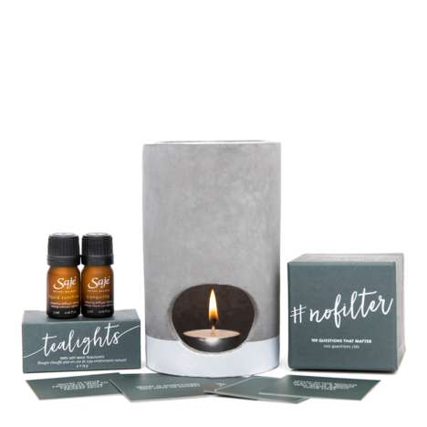Conversational Candlelight Games - Saje Wellness' Card Game for Groups Includes Candles & a Diffuser