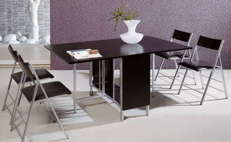 Foldable Dining Room Sets - The Expand Furniture 'Trojan' Folding Dining Set Saves Space