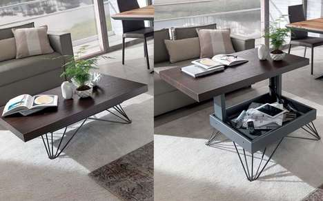 Hidden Storage Coffee Tables - The Ozzio Transformable Storage Coffee Tables Hide Living Room Items