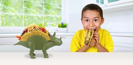Triceratops Tex-Mex Tableware - The TriceraTACO Taco Holder is Great for Getting Picky Kids Excited