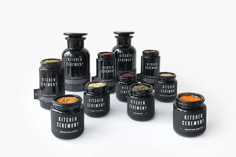 Glass Spice Jar Collections - Kitchen Ceremony Offers its Spices in Sleek, Minimalist Jars
