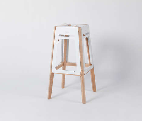 Atypical Architectual Stools - The 'ARTU' Stool Seat is Crafted Using Both Wood and Metal