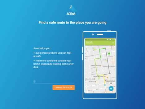 Route Safety Map Apps - The 'Jane' Safety Map App Identifies the Safest Route to Walk