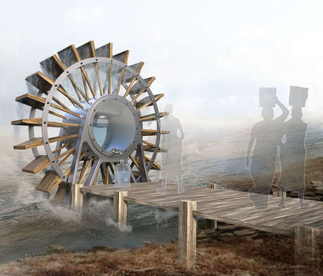 Water-Filtering River Wheels - The 'Waterwheel Filter' Water Filtering System is for Remote Villages