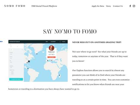 Social Travel Networks - 'Nomo FOMO' Enables Social Travel Planning by Detailing Trips