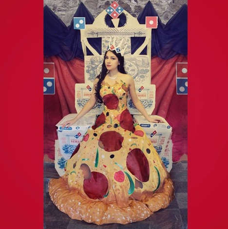 Regal Pizza Dance Dresses - The Pizza Prom Dress Was Created to Win a Domino's Social Media Contest