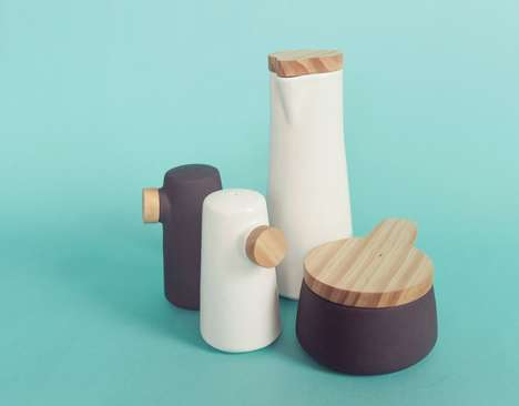 Quirky Condiment Containers - The 'Notch' Container Collection Incorporates Wood, Ceramic and Cork