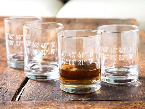 GPS Coordinates Rocks Glasses - This Customizable Barware Lets You Celebrate Location-based Memories
