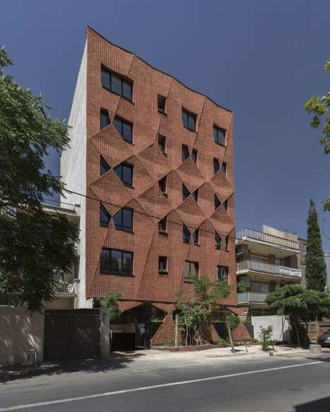 Parallelogram Brick Facades - 'Woof Shadow' Features a Raised Brick Facade with a Unique Pattern