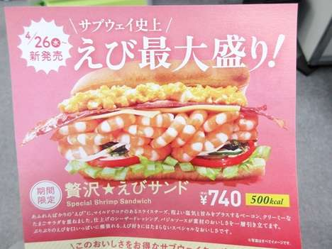 Seafood Salad Sub Sandwiches - The Subway Japan Special Shrimp Sandwich is Packed with Seafood