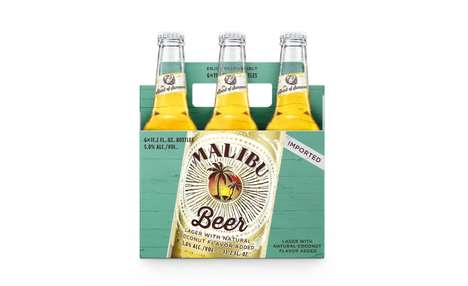Rum Brand Beers - 'Malibu Beer' is a Tropical Golden Lager with a Natural Coconut Flavor