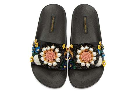 Orchid-Adorned Sandals - Dolce & Gabbana's Black Flower Slide Sandals Feature Faux Pearls and More