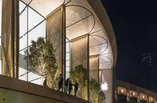 Folding Solar Shades - The New Dubai Apple Store is Shielded by 'Solar Wings'