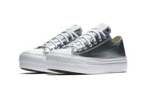 Metallic Platform Sneakers - These New Metallic Converse Chuck Taylors Come in Three Shiny Colorways