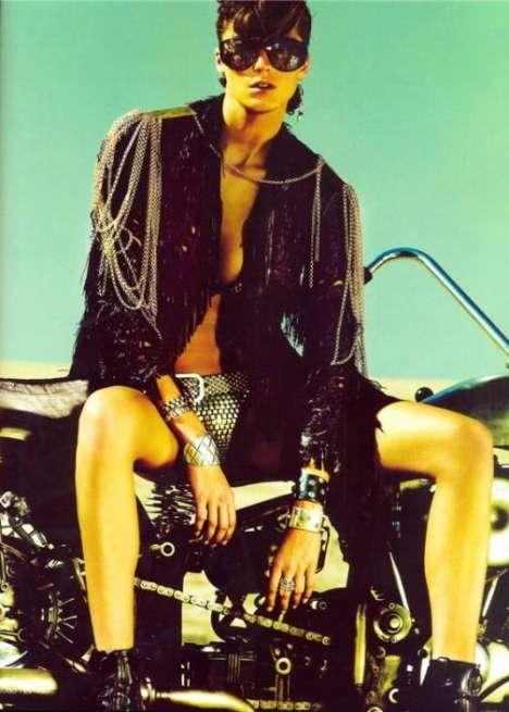 Biker Chick Chic - Daria Werbowy is 'Iron Maiden' in Vogue UK
