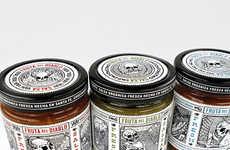 Macabre Packaging - Fruta del Diablo Salsa Features Dia de los Muertos Skulls