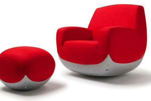 Swing Chair and Pouff Bring Playful Mood in the Living Room
