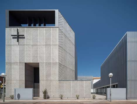 Herringbone Concrete Churches - The Church of Santa Maria Assumpta has a Modern Design