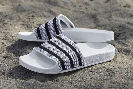 Breathable Sporty Sandals - The Adilette from adidas is Made with the Brand's Primeknit Material