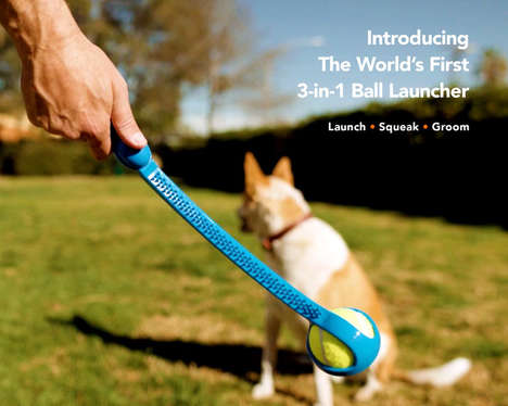 3-in-1 Dog Toys - The Scratch N' Squeak is a Dog Ball Launcher, Brush and Squeak Trainer