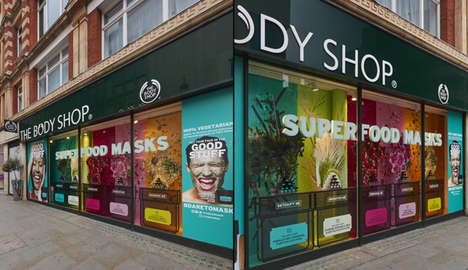 Multidimensional Cosmetic Window Displays - The Body Shop's New Display Markets Its Superfood Masks