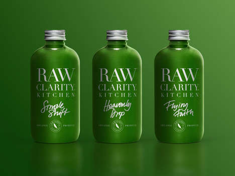 Blogger Cleansing Juice Collaborations - Raw Clarity Features Vivid Green Branding