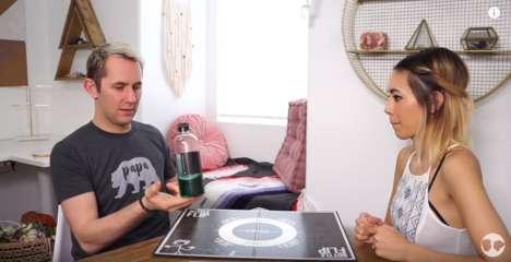 Bottle Flip Board Games - YouTube's Matt & Amanda Showed How to Win at Flipping Water Bottles